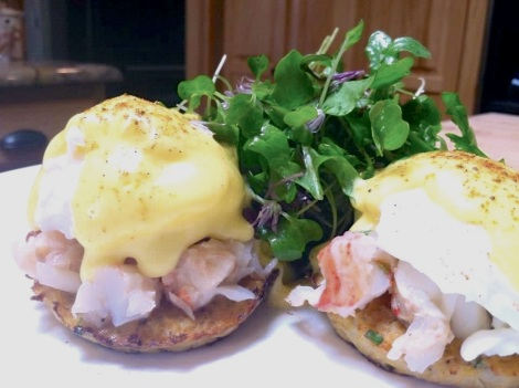 Lobster Eggs Benedict w/ Micro-Greens Salad & Asparagus | The Thin ...